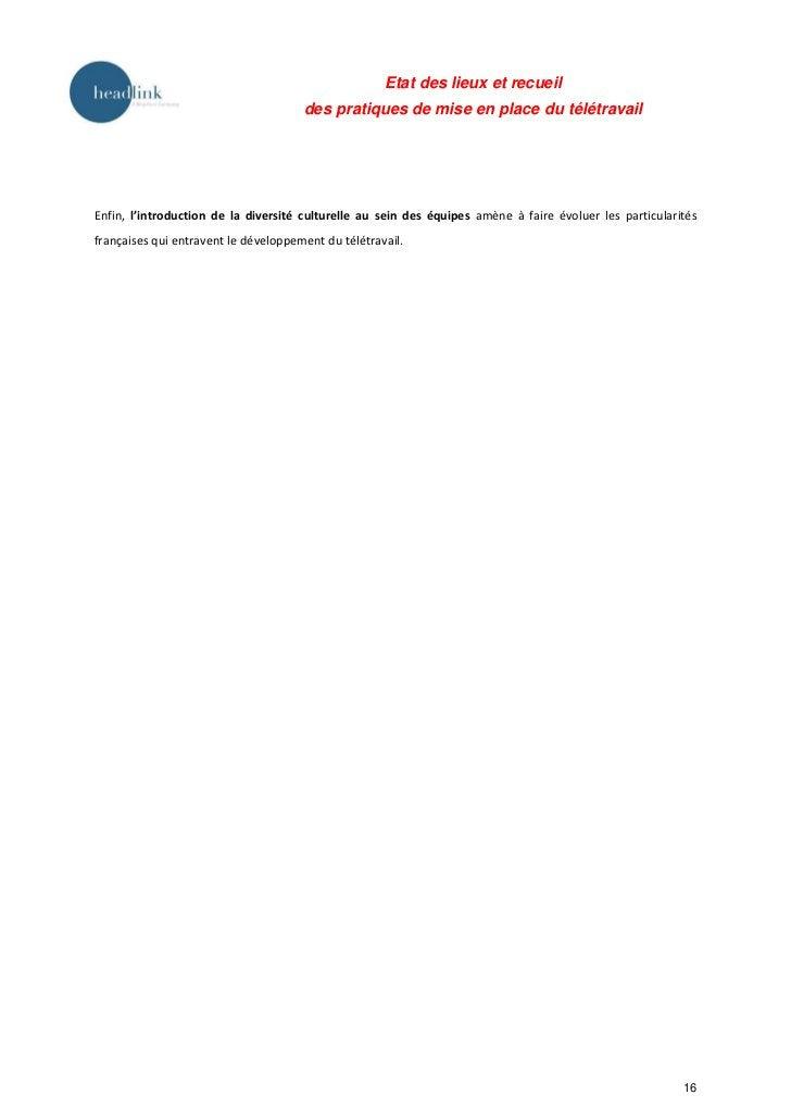 Etat des lieux et recueil                                      des pratiques de mise en place du télétravailEnfin, l'intro...