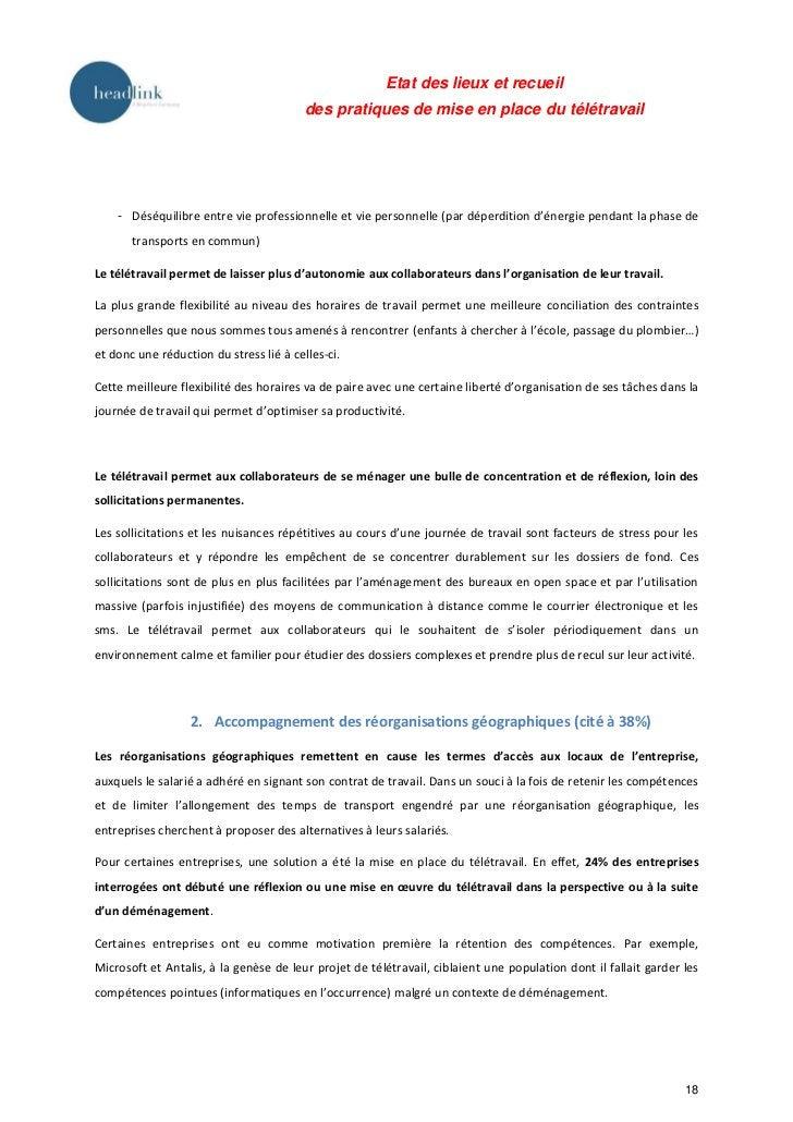 Etat des lieux et recueil                                         des pratiques de mise en place du télétravail    - Déséq...