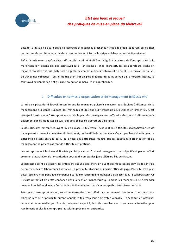 Etat des lieux et recueil                                        des pratiques de mise en place du télétravailEnsuite, la ...