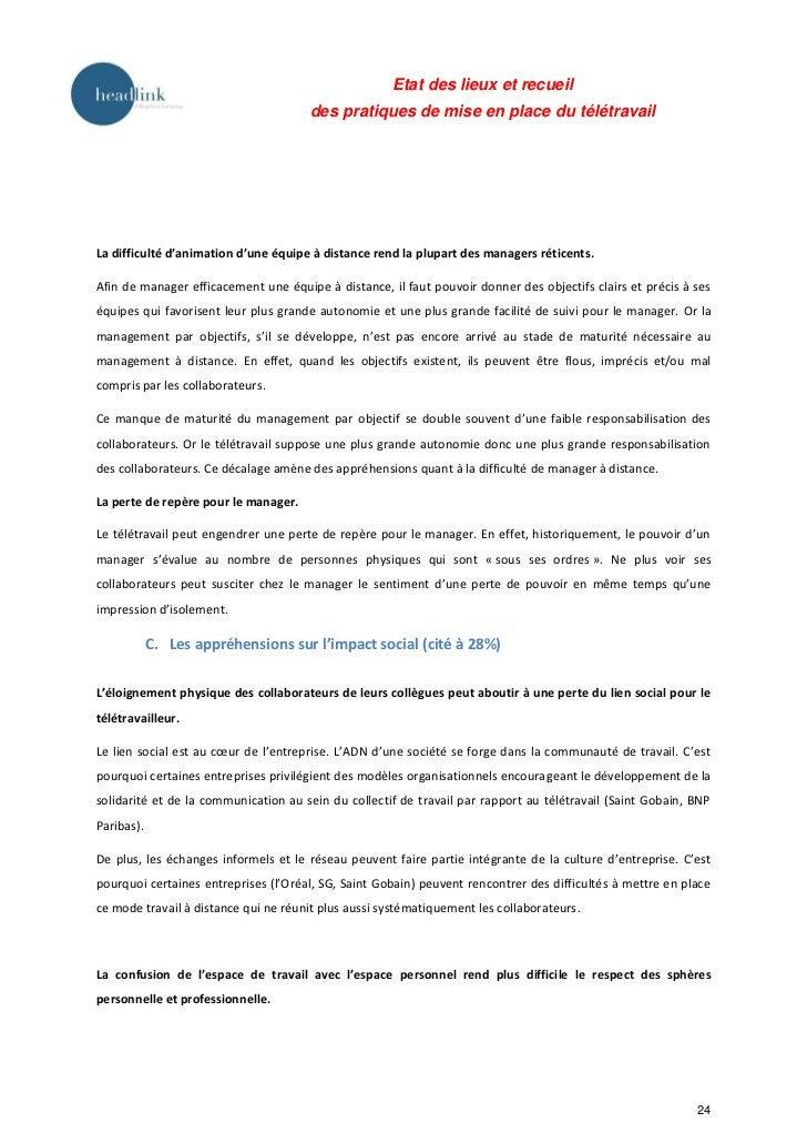 Etat des lieux et recueil                                      des pratiques de mise en place du télétravailLa difficulté ...
