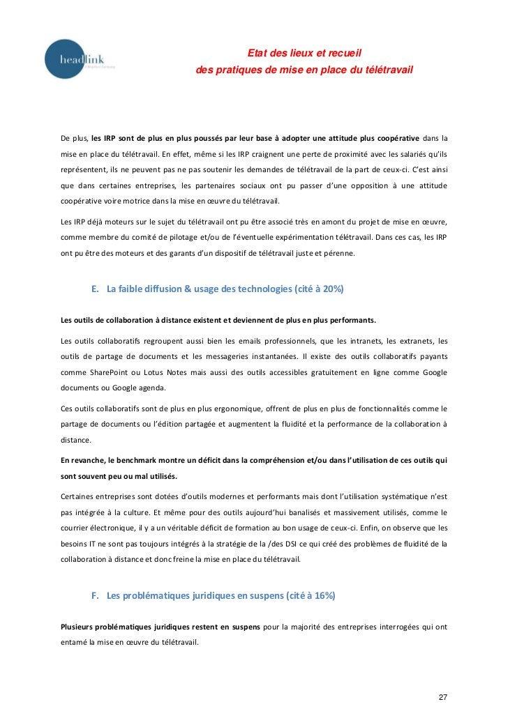Etat des lieux et recueil                                        des pratiques de mise en place du télétravailDe plus, les...