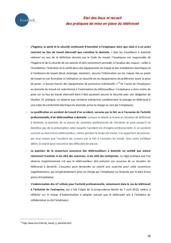 Etat des lieux et recueil                                                des pratiques de mise en place du télétravail    ...