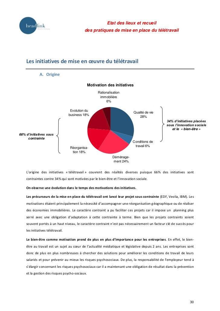 Etat des lieux et recueil                                             des pratiques de mise en place du télétravail    Les...