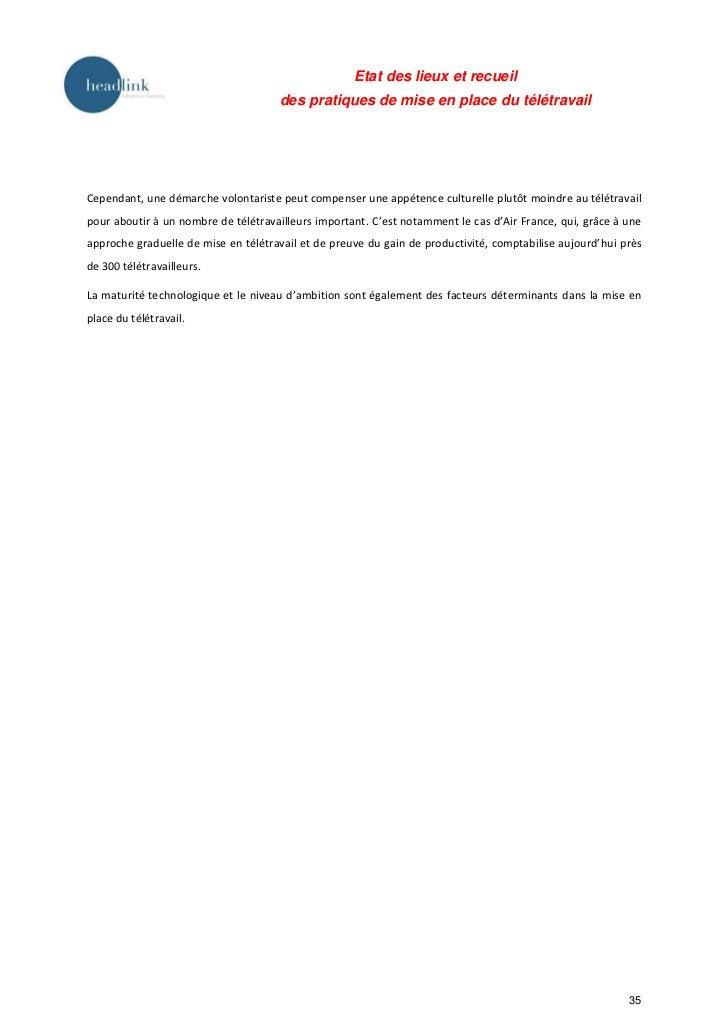Etat des lieux et recueil                                     des pratiques de mise en place du télétravailCependant, une ...