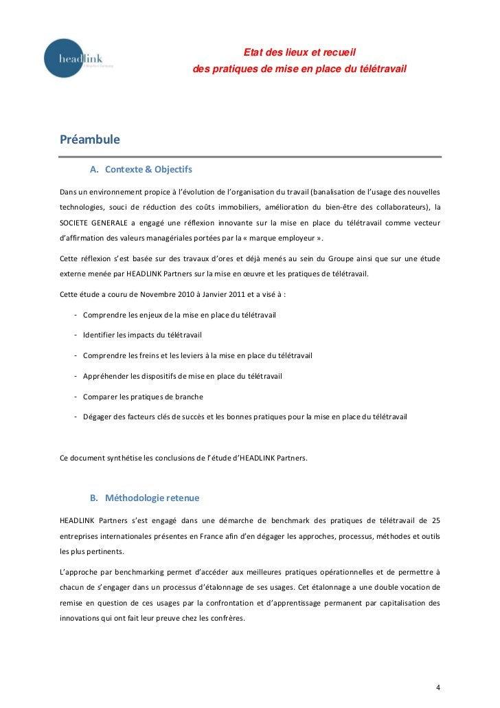 Etat des lieux et recueil                                        des pratiques de mise en place du télétravailPréambule   ...