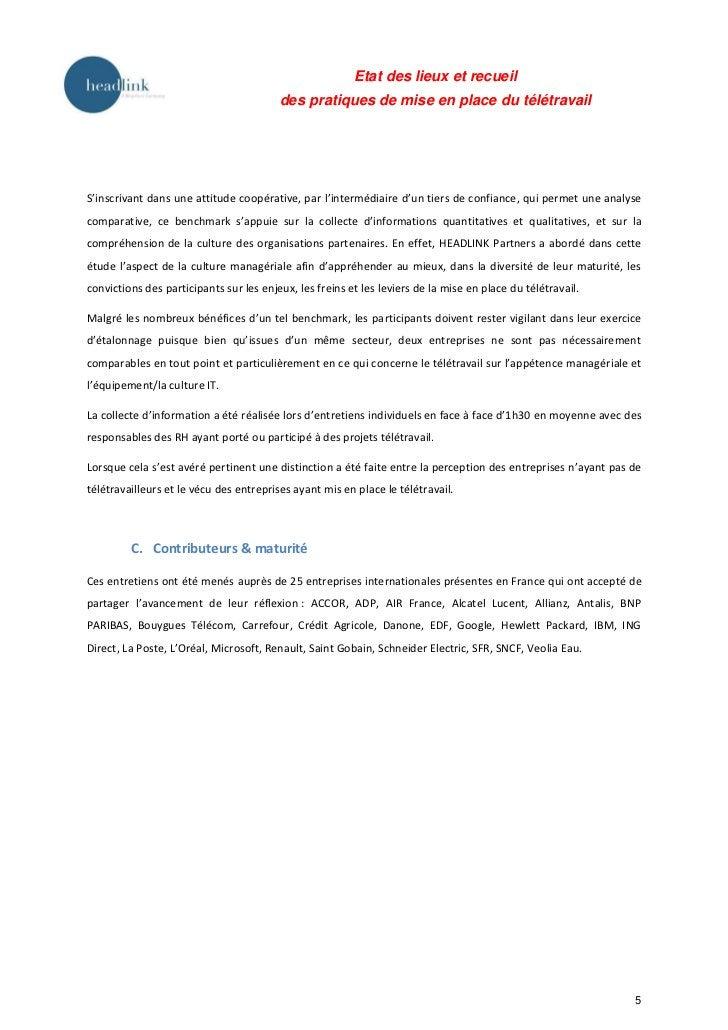 Etat des lieux et recueil                                         des pratiques de mise en place du télétravailS'inscrivan...