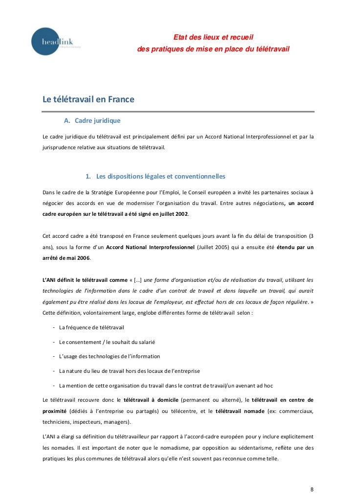Etat des lieux et recueil                                        des pratiques de mise en place du télétravailLe télétrava...