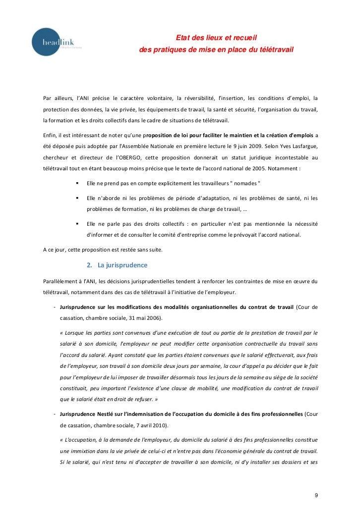 Etat des lieux et recueil                                         des pratiques de mise en place du télétravailPar ailleur...