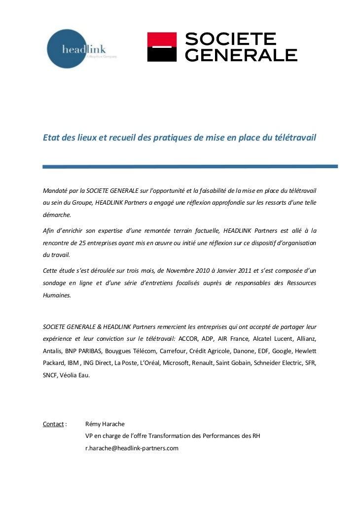 Etat des lieux et recueil des pratiques de mise en place du télétravailMandaté par la SOCIETE GENERALE sur l'opportunité e...