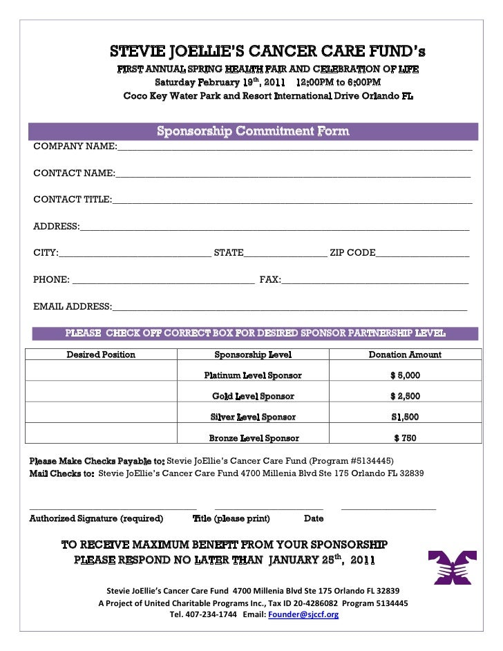 Doc725946 Sample Sponsor Form Sponsorship Form Template 93 – Sponser Sheet