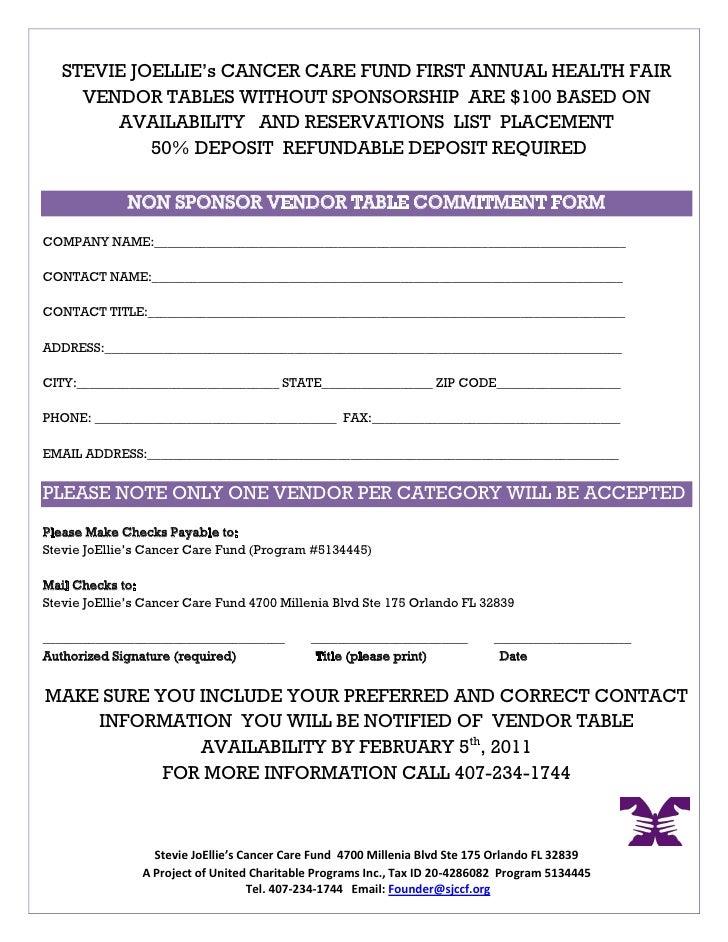 2011 Health Fair Sponsorship Proposal – Sample Sponsorship Form