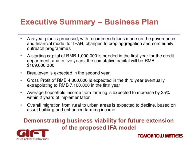 Summary of the Corporate Business Plan
