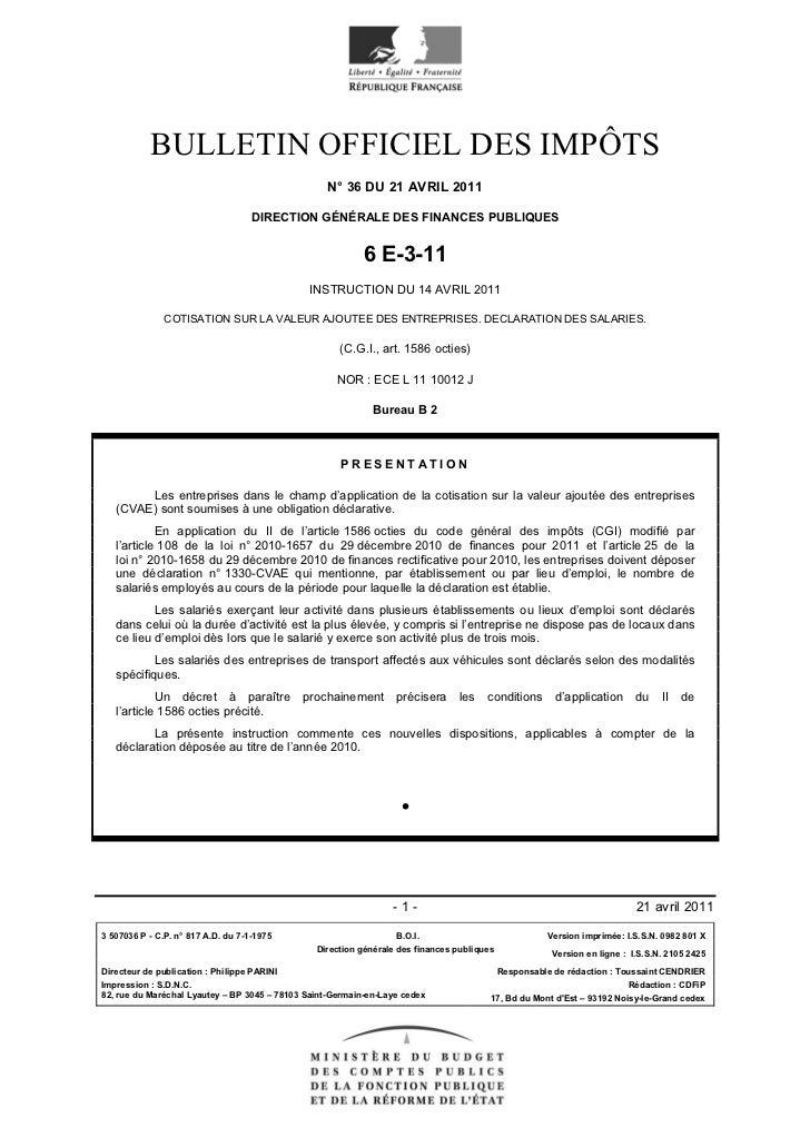 BULLETIN OFFICIEL DES IMPÔTS                                                  N° 36 DU 21 AVRIL 2011                      ...