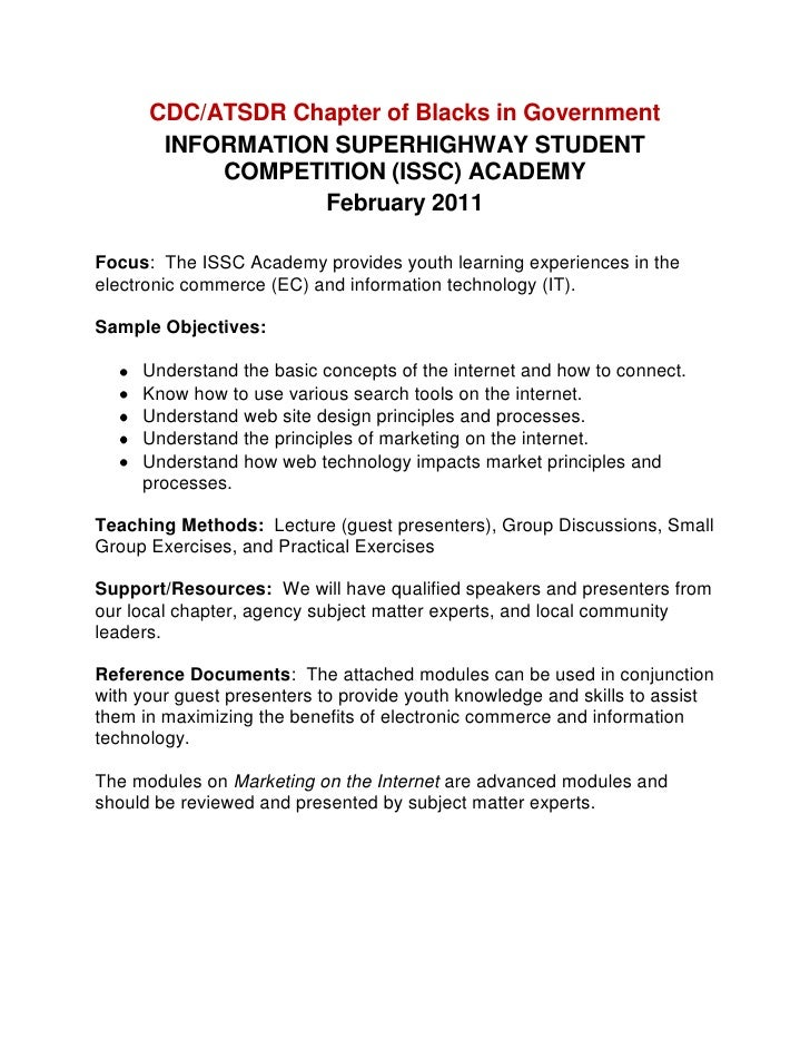 CDC/ATSDR Chapter of Blacks in Government<br />INFORMATION SUPERHIGHWAY STUDENT COMPETITION (ISSC) ACADEMY <br />February ...