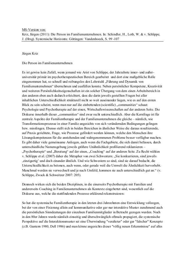 MS-Version von: Kriz, Jürgen (2011): Die Person im Familienunternehmen. In: Schindler, H., Loth, W. & v. Schlippe, J. (Hrs...