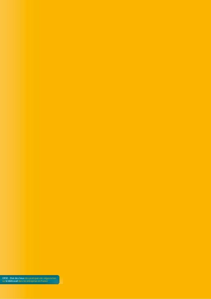 ORSE - Etat des lieux des pratiques de négociationsur le télétravail dans les entreprises en France