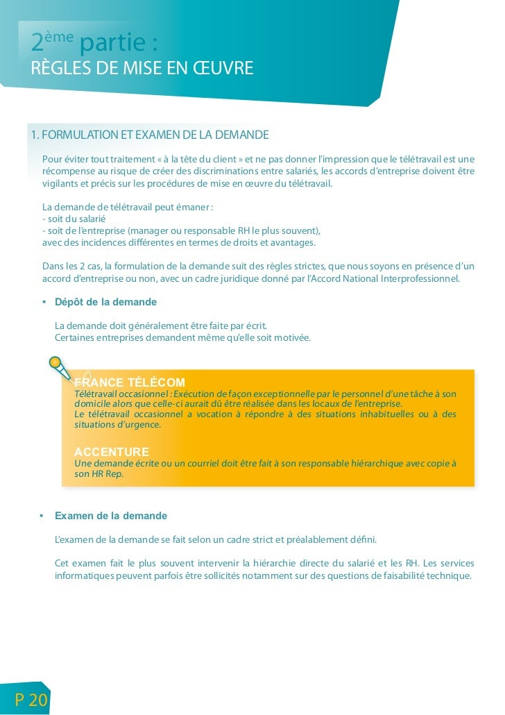 FRANCE TÉLÉCOM      Demande à l'initiative du salarié.      Au regard des conditions énoncées à I'article 1, la hiérarchie...