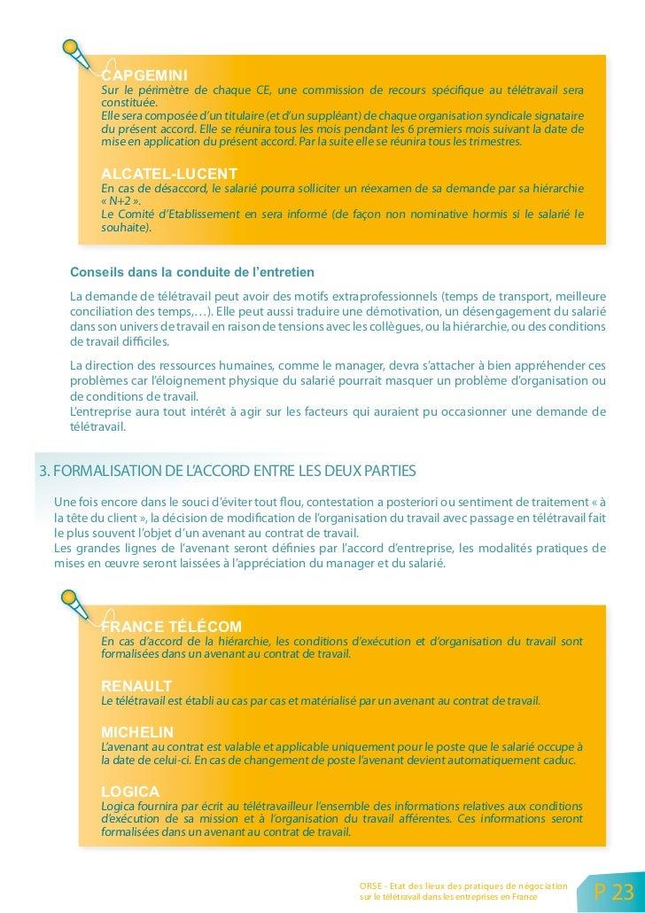 FRANCE TÉLÉCOM                 Chaque situation de télétravail fait l'objet d'un avenant à durée déterminée au contrat de ...