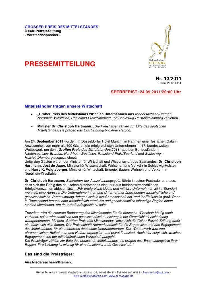 GROSSER PREIS DES MITTELSTANDESOskar-Patzelt-Stiftung- Vorstandssprecher -PRESSEMITTEILUNG                                ...