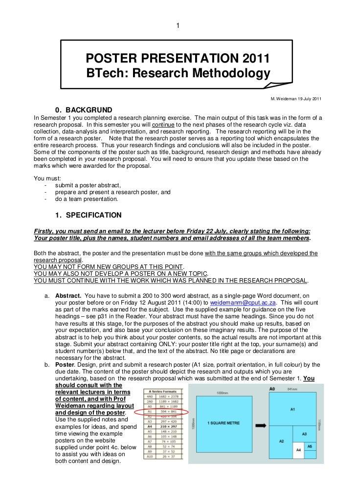 1                   POSTER PRESENTATION 2011                   BTech: Research Methodology                                ...