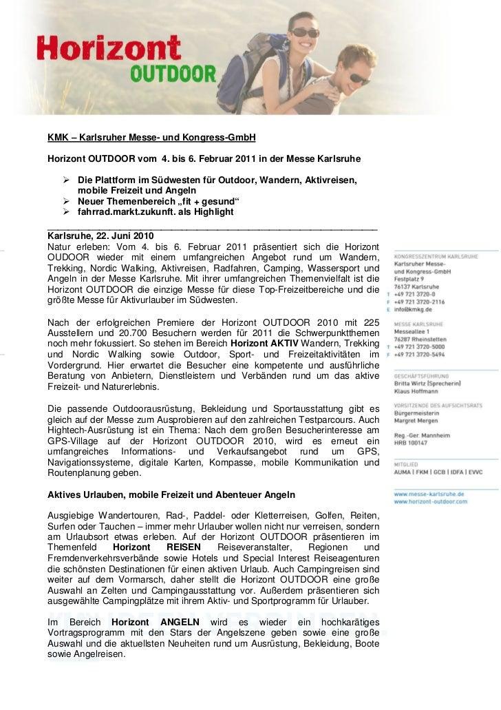 KMK – Karlsruher Messe- und Kongress-GmbHHorizont OUTDOOR vom 4. bis 6. Februar 2011 in der Messe Karlsruhe       Die Plat...