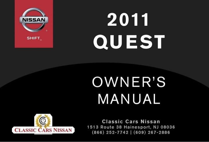2011 quest owner s manual rh slideshare net Nissan Quest Mercury Villager 1993 Nissan Quest Minivan