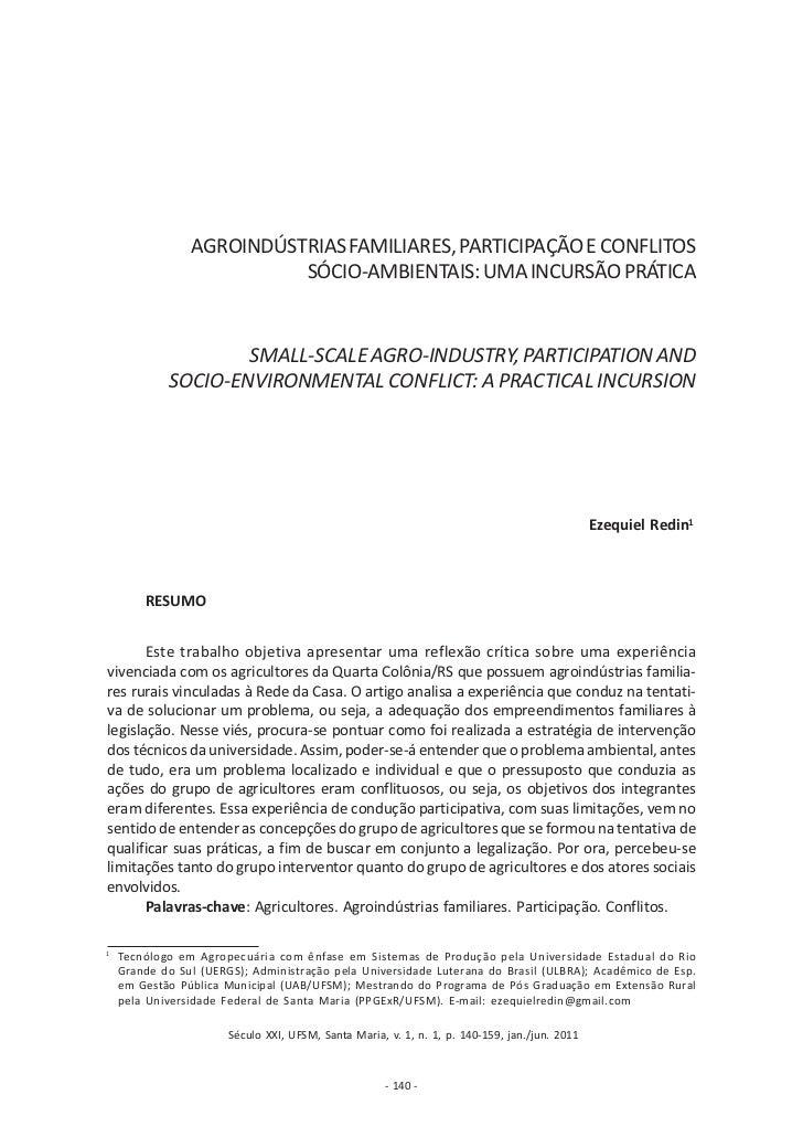AGROINDÚSTRIAS FAMILIARES, PARTICIPAÇÃO E CONFLITOS                          SÓCIO-AMBIENTAIS: UMA INCURSÃO PRÁTICA       ...