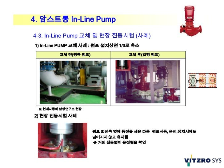 4. 암스트롱 In-Line Pump4-3. In-Line Pump 교체 및 현장 진동시험 (사례)1) In-Line PUMP 교체 사례 : 펌프 설치상면 1/3로 축소         교체 전(횡축 펌프)        ...