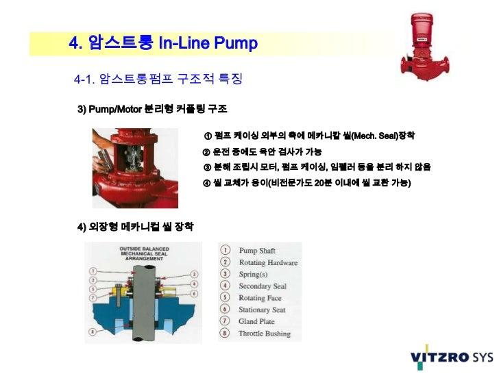 4. 암스트롱 In-Line Pump4-1. 암스트롱펌프 구조적 특징3) Pump/Motor 분리형 커플링 구조                    ① 펌프 케이싱 외부의 축에 메카니칼 씰(Mech. Seal)장착    ...
