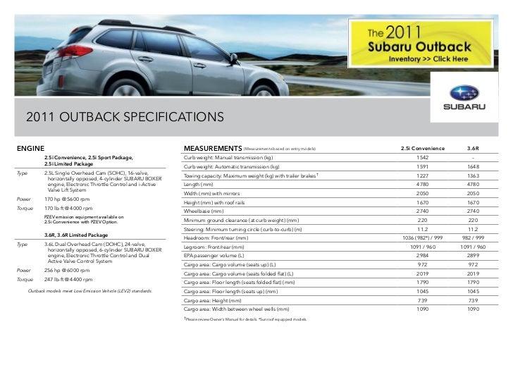 Subaru Outback Dimensions >> 2011 Subaru Outback Inalberta Brochure Subaru Of Lethbridge