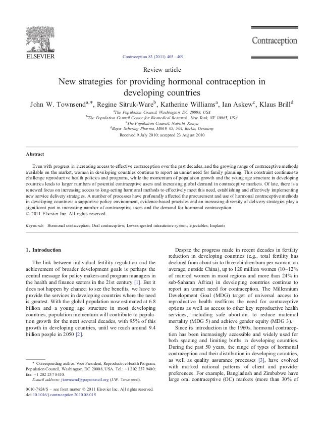 Contraception 83 (2011) 405 – 409  Review article  New strategies for providing hormonal contraception in developing count...