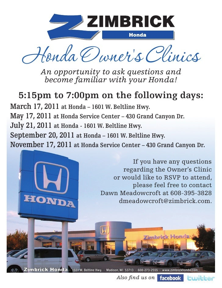 2011 Zimbrick Honda Owners Clinics