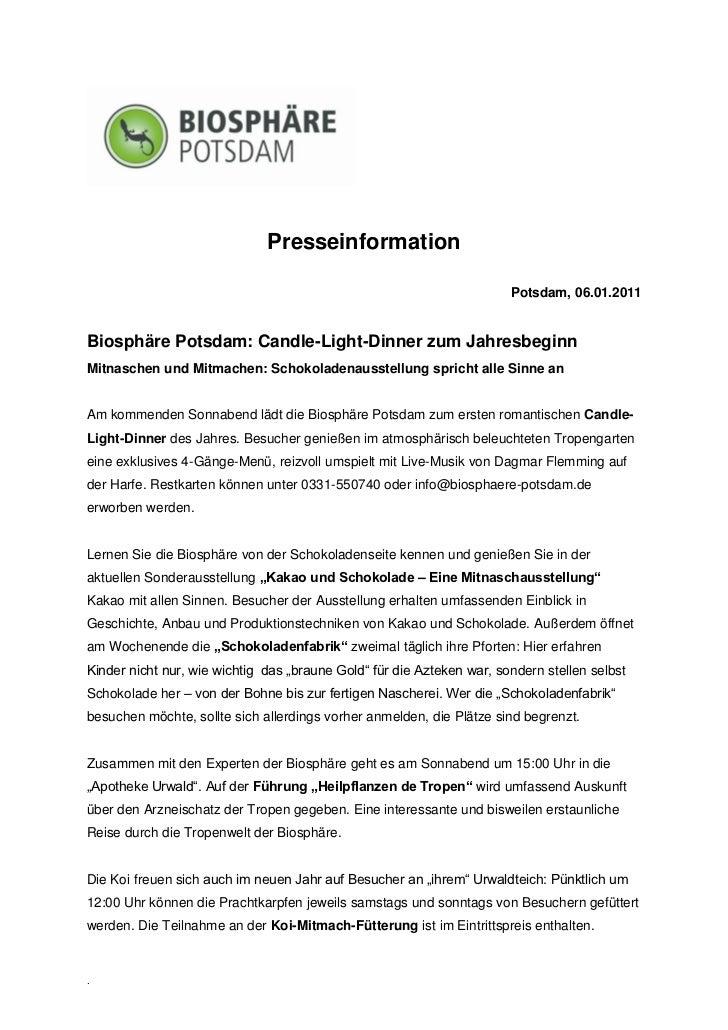 Presseinformation                                                                       Potsdam, 06.01.2011Biosphäre Potsd...