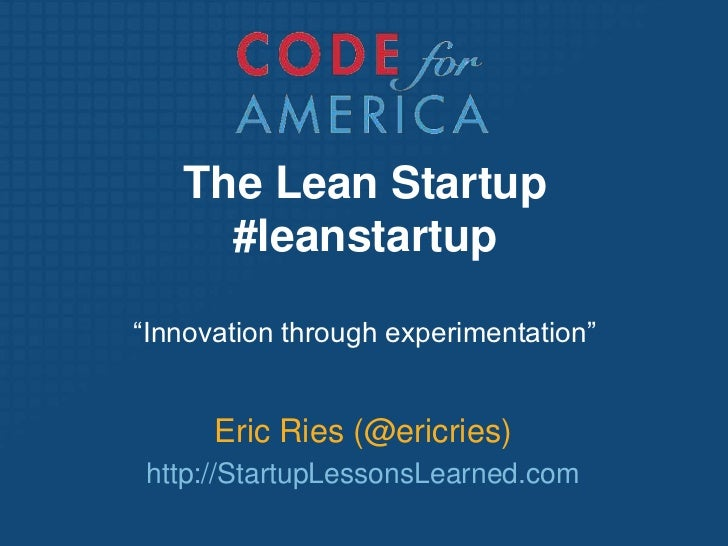 The Lean Startup at Code for America fellows