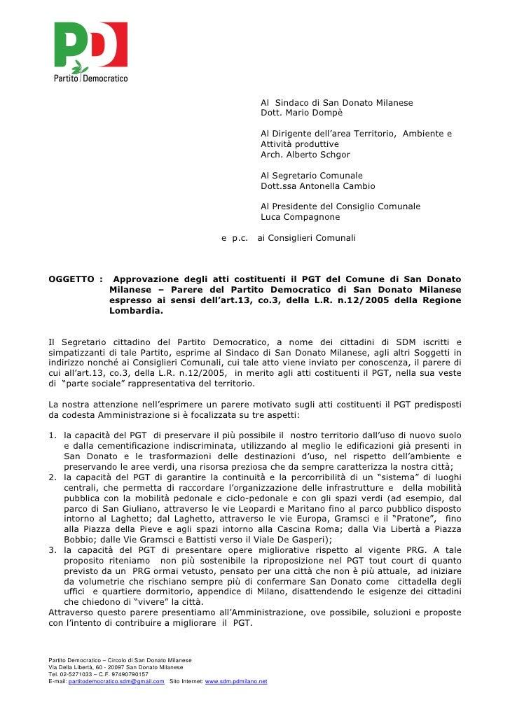 Al Sindaco di San Donato Milanese                                                                         Dott. Mario Domp...
