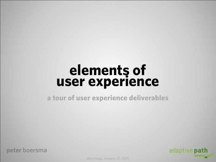 elements of                  user experience                a tour of user experience deliverablespeter boersma           ...