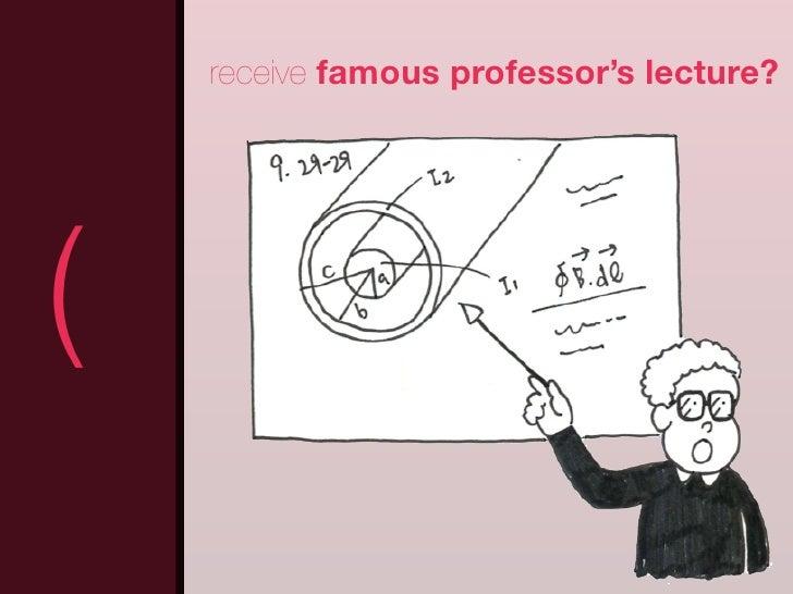 receive famous professor's lecture?(                                     )