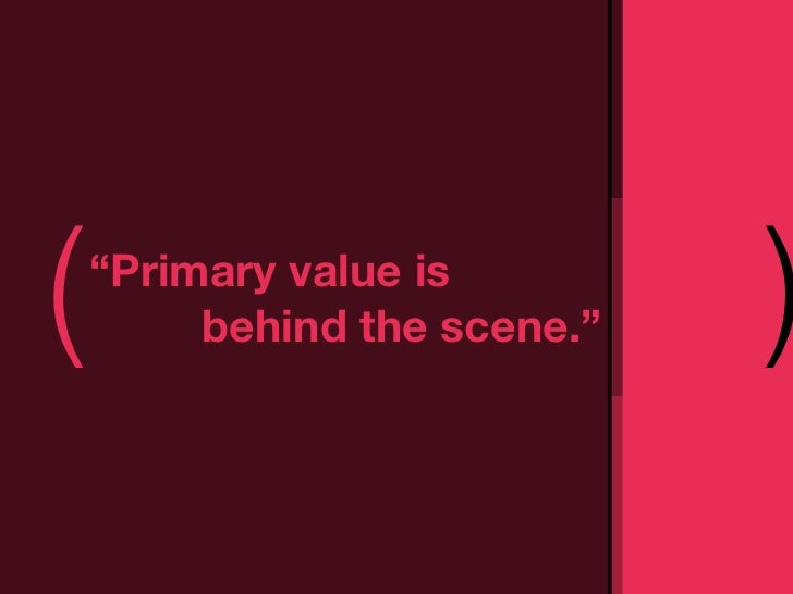 """(   """"Primary value is         behind the scene.""""   )"""