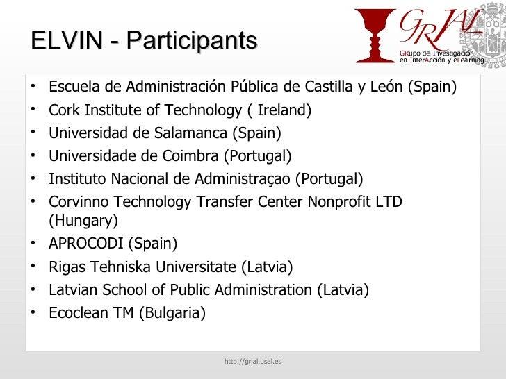 ELVIN - Participants <ul><li>Escuela de Administración Pública de Castilla y León (Spain) </li></ul><ul><li>Cork Institute...