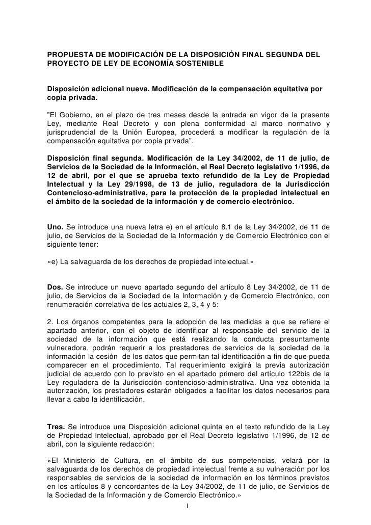 Propuesta de modificación de la disposición final segunda del proyecto de Ley de Economía Sostenible