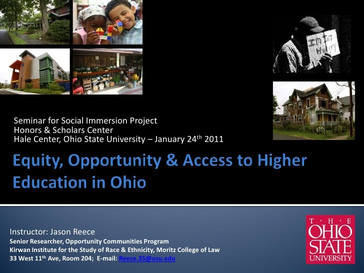 Seminar for Social Immersion Project Honors & Scholars Center Hale Center, Ohio State University – January 24th 2011Instru...