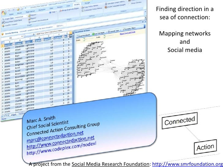 Finding direction in a sea of connection: <br />Mapping networks and <br />Social media<br />Marc A. Smith<br />Chief Soci...