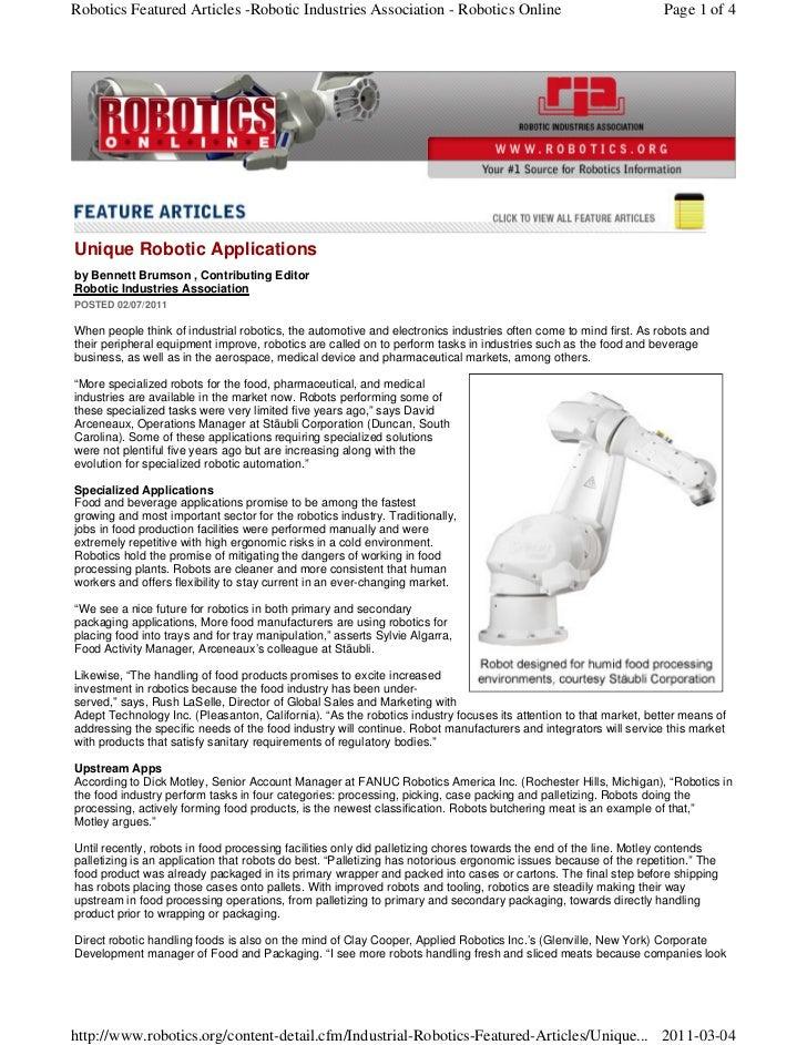 Robotics Featured Articles -Robotic Industries Association - Robotics Online                                       Page 1 ...