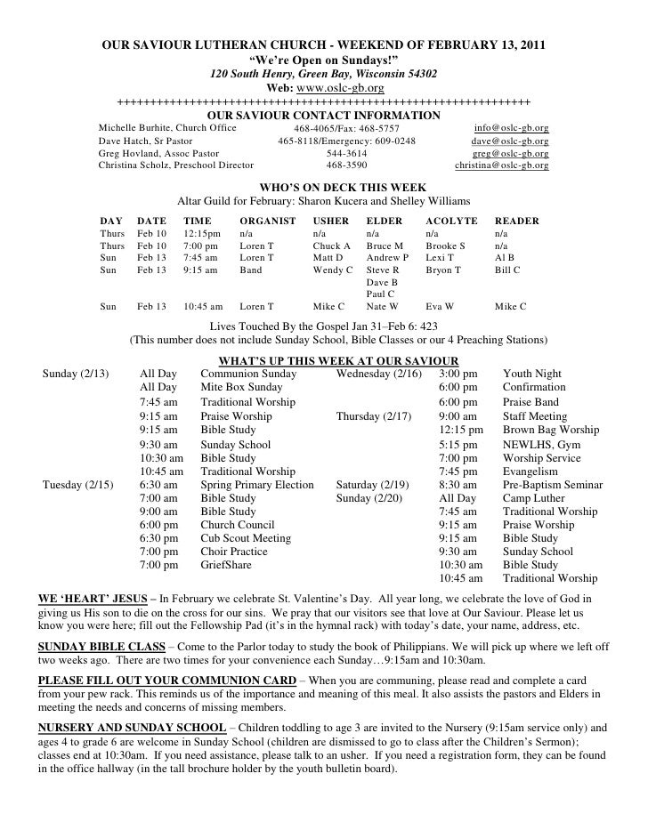 """OUR SAVIOUR LUTHERAN CHURCH - WEEKEND OF FEBRUARY 13, 2011                               """"We""""re Open on Sundays!""""         ..."""