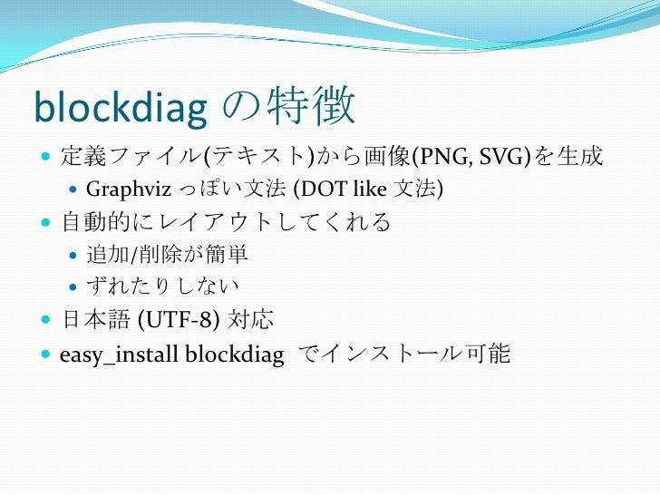 blockdiagの特徴<br />定義ファイル(テキスト)から画像(PNG, SVG)を生成<br />Graphvizっぽい文法 (DOT like 文法)<br />自動的にレイアウトしてくれる<br />追加/削除が簡単<br />ずれ...
