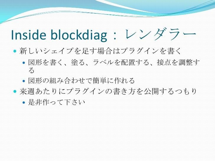 Inside blockdiag:レンダラー<br />新しいシェイプを足す場合はプラグインを書く<br />図形を書く、塗る、ラベルを配置する、接点を調整する<br />図形の組み合わせで簡単に作れる<br />来週あたりにプラグインの書き方...