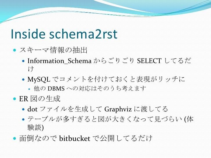 Inside schema2rst<br />スキーマ情報の抽出<br />Information_Schemaからごりごり SELECT してるだけ<br />MySQLでコメントを付けておくと表現がリッチに<br />他の DBMS への対...