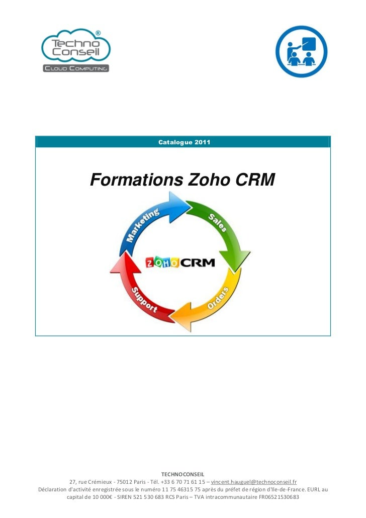 Catalogue 2011                    Formations Zoho CRM                                                  TECHNOCONSEIL      ...