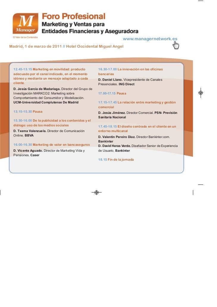 Agenda foro profesinal de marketing y ventas para for Horario de oficinas de ing direct en madrid