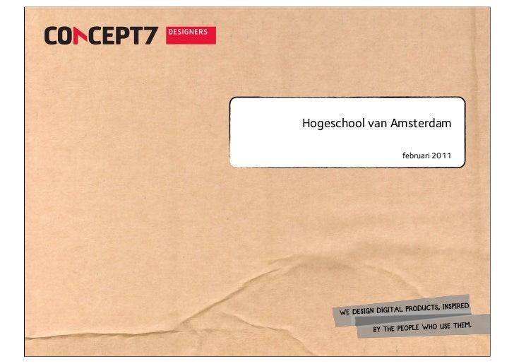 Hogeschool van Amsterdam                februari 2011